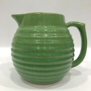 Over And Back Yellow Wear Early Green Bee Hive Water Pitcher Yellow Ware Usa