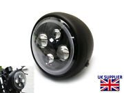 Motorcycle Led Headlight 7.7 With Halo Projector For Cafe Racer Matt Black