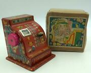 Vintage 1950and039s Japanese Tin Cash Register Bank In Box