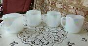 4 Stacking Retro Federal Glass Usa Pearl Lustre Iridescent Moonglow Mugs
