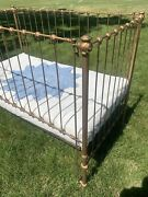 Vintage 1910's Gold Iron Baby Bed/crib Beautiful Excellent Antique