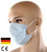 Face Mask, Mouth And Nose-guard With Nose Clip And Rubber Band 3-lagig