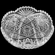 Antique Abp American Brilliant Period Cut Glass Bowl Fan Button Hobstar 1890and039s
