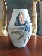 1950s Mcm Japanese Studio Art Pottery Vase - Abstract - Signed- 9