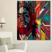 Designart And039jesus Over Abstract Wooden Designand039 Large Abstract Mini