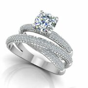 Solitaire Round 1.00 Ct Real Diamond Engagement Ring Set 950 Platinum Size 4 5.5