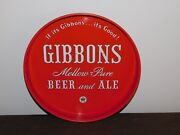Vintage Bar 11 3/4 Across Gibbons Beer And Ale Metal Serving Tray