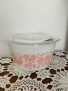 Pyrex Pink Amish Butterprint Casserole With Lid Balloon Dishes Vintage Antique