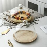 Solid Wood Stand Wooden Cake Plate Wedding Party Plates Glass Cover Dessert Tabl