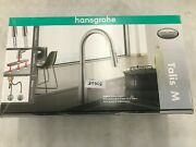 Hansgrohe Talis M Pull-down Swivel High Arc Kitchen Faucet Steel Optic Nob