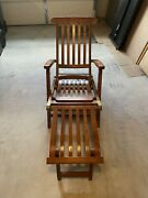 Vintage S.s New Amsterdam First Class Only Teak Wood Cruise Line Deck Chair