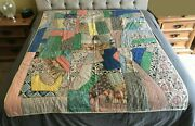 Vintage Crazy Quilt 78 X 64 Hand Quilted, Satin Back