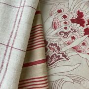 Antique French Sewing Scraps Pale Striped Linen Floral Farmhouse Fabric Old