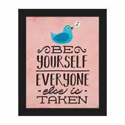 And039be Yourself Birdand039 Red Framed Canvas Wall Art