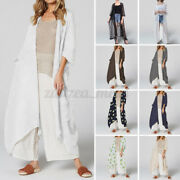 Us Stock Women Long Coat Summer Casual Loose Jacket Kimono Outwear Cover Up Tops