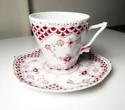 Royal Copenhagen Ruby Red Fluted Full Lace Cup And Saucer, Extremely Rare