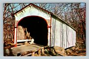 Milroy In, Historic 1878 Crown Point Covered Bridge, Chrome Indiana Postcard