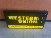 Vintage Western Union Double Sided Sign With Hanger Exc Condition 49x26 Light Up