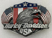 Vintage 1989 Harley Davidson Screaming Eagle With Twin Usa Flags Belt Buckle
