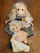 """Precious Moments Dolls/cloth Andvinyl. 16""""and8"""". Used/cleaning Needed/ As Is"""