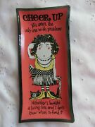 Vintage Houze Art Glass Ashtray Humor Cheer Up Living Bra Donand039t Know What Feed