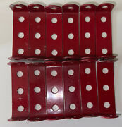 Lot Of 12 Rare Red Vintage Meccano Ten Standard Double Angle Strip 1x3x1 Hole