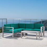 Cape Coral Outdoor Aluminum 5 Seater Sectional Sofa Set By Silver And Canvas Tea
