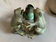Heavy Brass Circle Of Friends Frogs Candle Holder /ornament