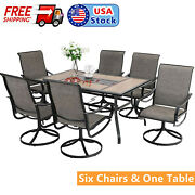 7-piece Patio Furniture Set Swivel Chairs Rectangular Table With Umbrella Hole