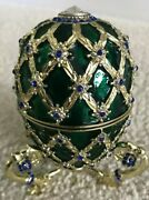 James Bond Octopussy Faberge Egg Prop Replica Green W/ Blue Crystals 007 New