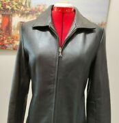 Covington Soft Leather Jacket Women's Size S/ch4 - 6 Black Zip Up Collared