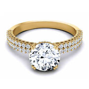 Solitaire Round Cut 0.90 Ct Real Diamond Anniversary Ring 18k Yellow Gold Size 5