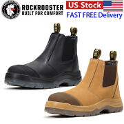 Steel Toe Work Boots Slip On Ankle Safety Boots Anti-static Classic Chelsea Shoe