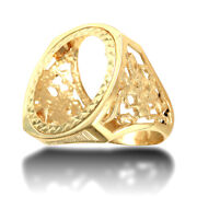 Jewelco London 9ct Gold St George Dragon Slayer Full Sovereign Mount Ring