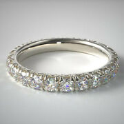 14k White Gold Real Diamond Wedding Eternity Bands Round Cut 2.00 Ct Size 7 8 9