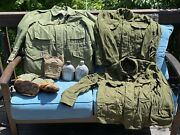 Vtg. Us Army Clothing Gear Lot M-1951 Field Jacket Canteens Wool Shirts Mittens