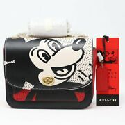 🏰🦋coach Disney Mickey Mouse X Keith Haring Madison Shoulder Bag 19 Nwt Rt 495