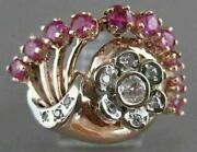 Antique 1.69ct Old Mine Diamond Ruby 14k W Rose Gold Flower Cocktail Ring 21009