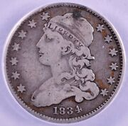 1834 Capped Bust Silver Quarter - Anacs F15