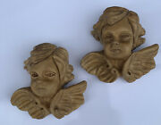 Vintage Pair Of Wooden Hand Carved Wall Angel Cherub Head Statue 4x4