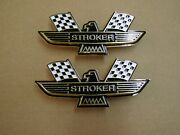 Ford Stroker Crossed Flag Fender Emblems Gold Mustang Fairlane Galaxie Falcon +