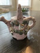 Thames Made In Japan Ceramic Floral Watering Can Pink One Petal Chipped