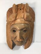 Vintage Wooden Mask W 2 Birds Hand Carved Thick Wood Wall Hanging Magnificent