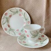 Trio Set Susie Cooper Wild Strawberry Cup And Saucer Dessert Plate Wedgwood 1953