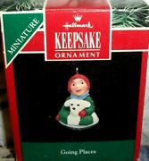 Going Places`1992`miniature-little Girl And Dog Sleding,hallmark Tree Ornament