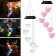 Solar Powered Led Color Changing Heart Wind Chimes Light Patio Decor Garden Lamp