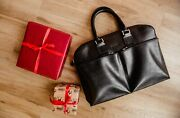 A La Rus Bag Black Leather Handmade Briefcases Business Case With Pockets