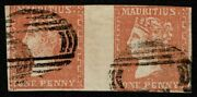 Mauritius 1859 Sg42 1d Dull Vermilion Dardenne Pair Fine Used Cat. Andpound3000.00