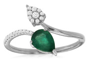 .80ct Diamond And Aaa Emerald 14kt White Gold Pear Shape And Round Double Leaf Ring