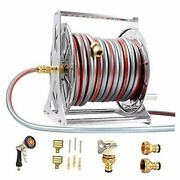 Metal-garden-hose-and-reel-kit-wall-mount +100ft Water Hose+10ft Lead-in
